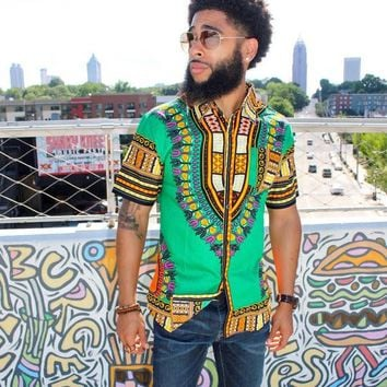 Button Up Dashiki Shirt