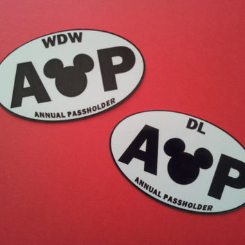 Disney Annual Passholder Bumper Sticker or Car Magnet - Walt Disney World or Disneyland