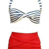 Jiehao Vintage Pin up High Waist Bikini Set Swimwear Swimsuits