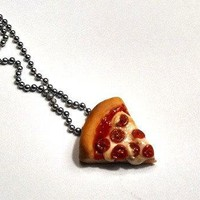 Pepperoni Pizza Slice Necklace Polymer Clay Jewelry Miniature Food