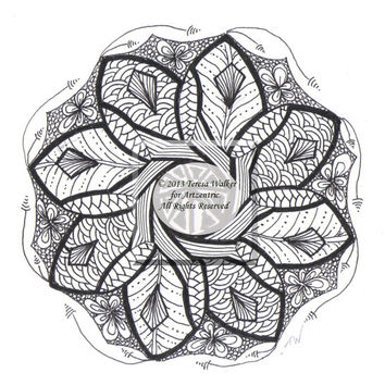Colouring Sheet Zen Doodle Instant Download pdf and png Abstract Art Zentangle Inspired. Mandala