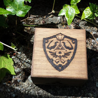 Legend of zelda inspired Hylian Shield triforce elements stained Pyrography Woodburned storage Box Legend of Zelda Ocarina of Time fan art