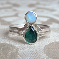 Blue Tourmaline and Opal Engagement Ring Set - Gift for Bride - Something Blue - Alternative Engagement Rings - Boho Engagement Rings