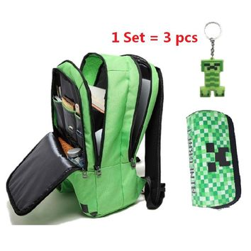 New Minecraft backpack Boy girl Multifunction canvas creeper bac fae6eb445f37c