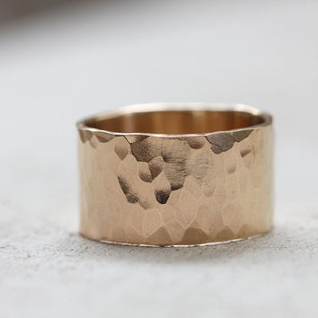 Extra Wide solid gold hammered wedding ring