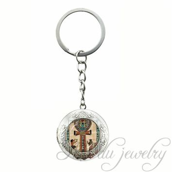 Ancient Egypt Ankh Time Gem Pendant Keychain Occult Magic Ancient Egypt Locket Key Chains Esoteric  Plated Key Ring
