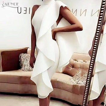 Adyce 2018 New Style Winter Dress Women Sexy White Sleeveless Patchwork Ruffles Bodycon Vestidos Celebrity Party Dress Clubwear