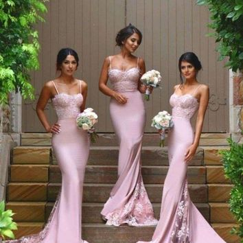 2016 Cheap vestidos de festa Pink Sexy Bridesmaid Dresses Spaghetti Straps Sweetheart Lace Backless Maid Of the Honor Dresses