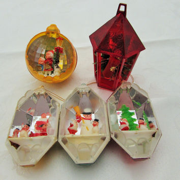 Vintage Diorama Christmas Tree Ornaments