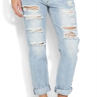Machine Light Wash Rolled Boyfriend Skinny Jean with Destruction