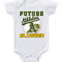 New Cute Funny Baby One Piece Bodysuit Baseball Future Slugger MLB Oakland A's #2