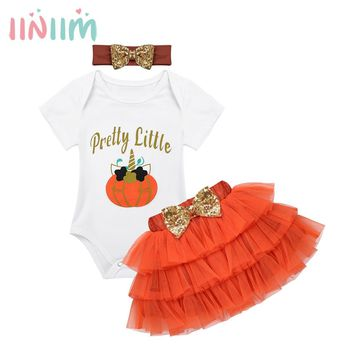 Newborns Baby Girls Halloween Outfit Clothing Letters Printed Little Cartoon Pumpkin Pattern Romper with Tutu Skirt Headband Set