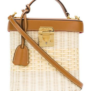 Mark Cross Straw Leather Box Bag - ShopBAZAAR