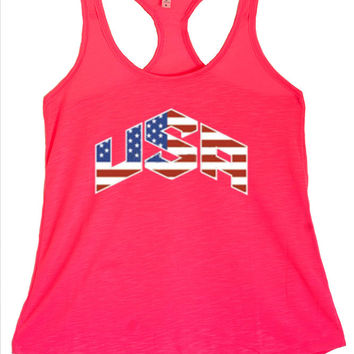 Women's USA Flag Chevron Inspired Graphic Print Polyester Tank Tops for Regular and PLUS - Small ~ 3XL
