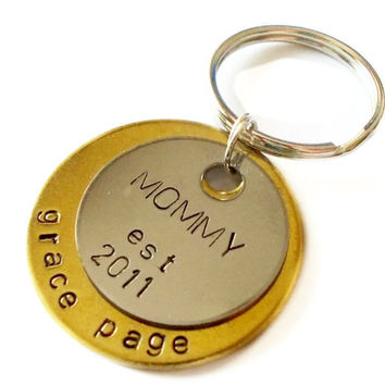Personalized Keychain, Custom Keychain, Key ring, Key chain, Mothers Day, New Mommy, Gift Ideas, For her, new parent