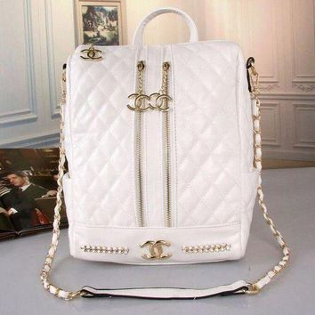 Ms. CHANEL Fashion College leather bag backpack F