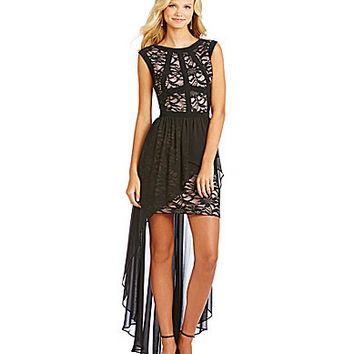 Morgan & Co. Lace to Chiffon Hi-Low Dress - Black/Nude