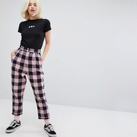 Lazy Oaf High Waist Peg Pants In Flannel Check at asos.com