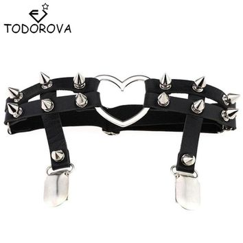 Todorova Gothic Harajuku Sexy Heart Punk Rivet Leg Necklace Belt for Women Harajuku Pastel Goth Harness Leather Garter Stockings
