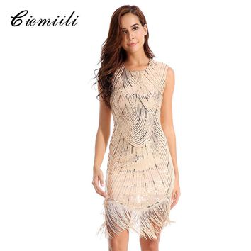 CIEMIILI Tassel Sleeveless Sequin Summer Midi Dress Women Vestidos 2018 Fashion Sexy Female Clothing Evening Party Bandage Dress