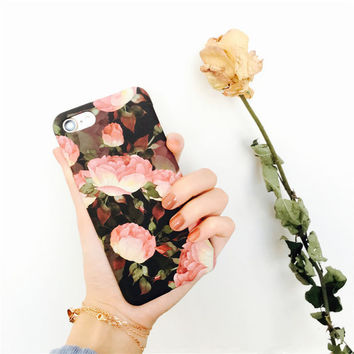 White Rose Case Cover for iPhone 7 7Plus & iPhone se 5s 6 6 Plus with Gift Box -0322