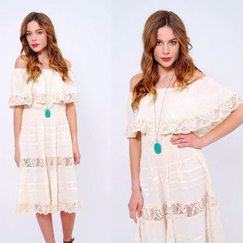 Vintage 70s MEXICAN Wedding Dress Cotton Gauze Off The Shoulder Dress CROCHET Lace Summer Dress Boho Dress