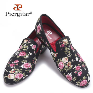New Handmade Flower printing Men Canvas Shoes Men Wedding and Party Loafers Men Flats Size