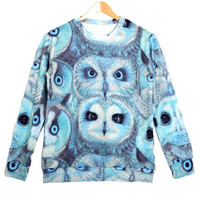 Realistic Owl Face Collage Graphic Print Pullover Sweatshirt Sweater in Blue   Gifts for Animal Lovers