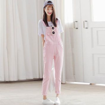 Vintage Overalls Women Denim Jeans 2017 New Casual Summer Overalls Pink White Black Denim Overalls Trousers WYS12