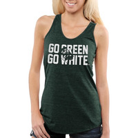 Michigan State Spartans Ladies Heart Mascot Racerback Tri-Blend Tank Top - Green