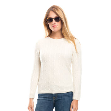Ivory Cable Crew Cashmere Sweater