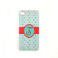 Monogram Letter T iPhone 4 iPhone 4S Case  Ships from USA Rubber Case