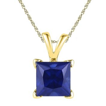 10kt Yellow Gold Womens Princess Lab-Created Blue Sapphire Solitaire Pendant 1-1/3 Cttw
