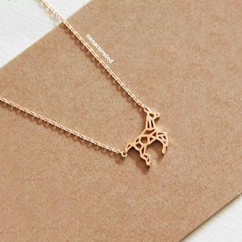 Cutout Horse Charm Necklace, Tiny Charm Necklace, GoldPlated Charm Necklace, GoldPlated Necklace, Hipster, Instagram, Holiday Gifts