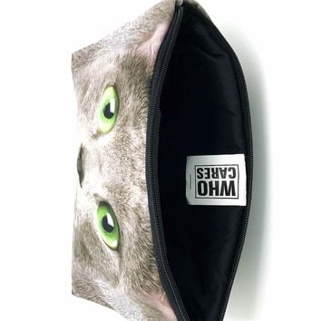 Green eye cat Cosmetic Bag