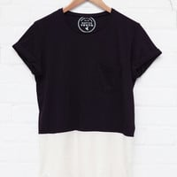 Native Youth Panelled Cut & Sew Crew Tee Black & Ecru