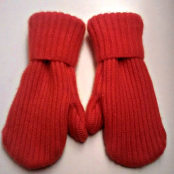 Etsy mittens, recycled sweaters, women's mittens, fleece lined mittens, felted wool mittens, etsy sweater mittens, mittens, orange mittens