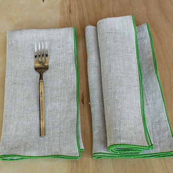 "Lime Green Linen Napkins, Green Dinner Napkins, Beige Napkins, Natural Napkins, Custom Napkins, Table Decor, Set of 4, 20"" square, ""Garden"""