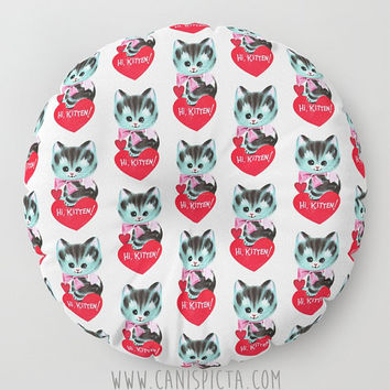 Valentine Floor Pillow Hi Kitten Cute Round Square Cat Heart Retro Vintage Card Decorative Cover Art Red Pink White Fun Grey Kitty Cushion