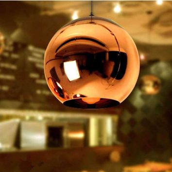 Mirror Ball Pendant Lamp copper lamp Lamp Glass Globe Pendant Light Hanging Light Fixture lustre luminaire lamparas Lighting