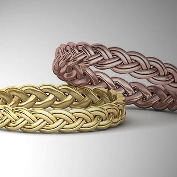 Rose Gold Rope Band Braided Wedding band Twisted Band Celtic Ring 14K Yellow Gold Wedding Ring Promise Band Ring Unique Wedding Gift