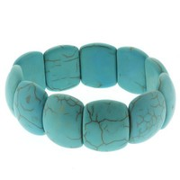 "7.5"" Simulated Turquoise Howlite Beads Stretch Bangle Bracelet 20MM"