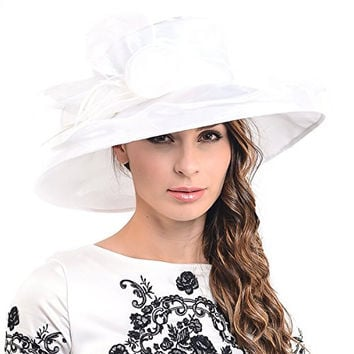 Two-tone Tea party Kt Derby Church Hat Wedding Dress Hat Bridal Shower 037db (White-48)