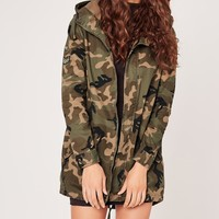Missguided - Camo Military Parka Jacket