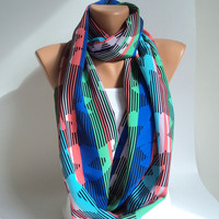 Blue scarf/ Butterfly scarf/ Striped scarfLoop scarf/  scarf/Scarves women/ Circle scarf/Ready to shipping.