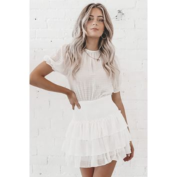 Check Mate White Smocking Mini Dress