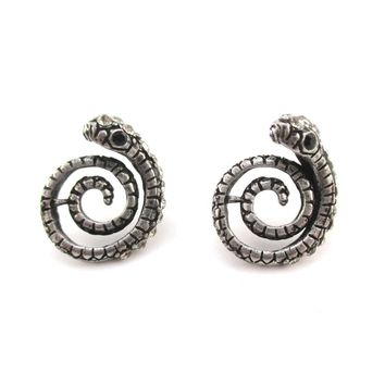 Coiled Snake Shaped Stud Earrings in Silver with Rhinestones | Animal Jewelry