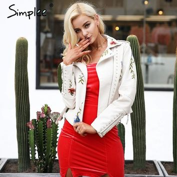 Simplee Embroidery floral faux leather jacket White basic jackets outerwear coats Women casual winter jacket female coat
