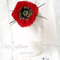 Large Millinery Flower, Oversized Poppy Brooch, Red Poppy Hair Clip, Red Silk Flower,Garden Party Outfit, Poppy Corsage Broach,Gift for Her