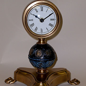 Dessau Home Antique Brass & Black Footed Clock - Nt185